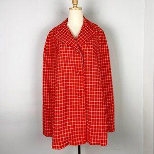 Vintage 1960s Orange and White Checked Cape Jacket